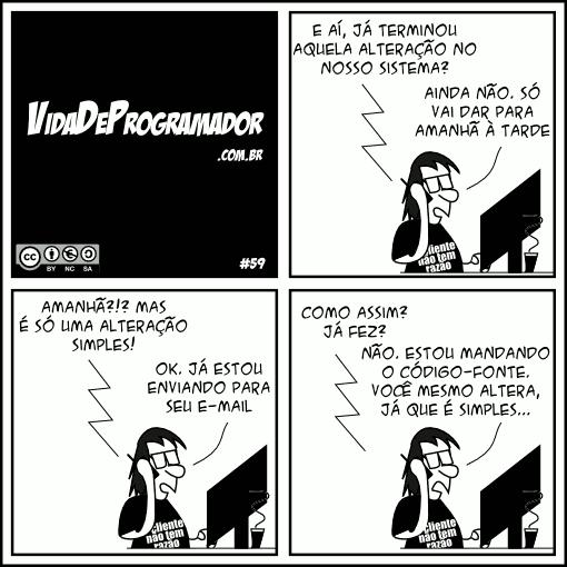 tirinha alterando código - vida de programador