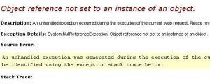 Exceção Null Reference